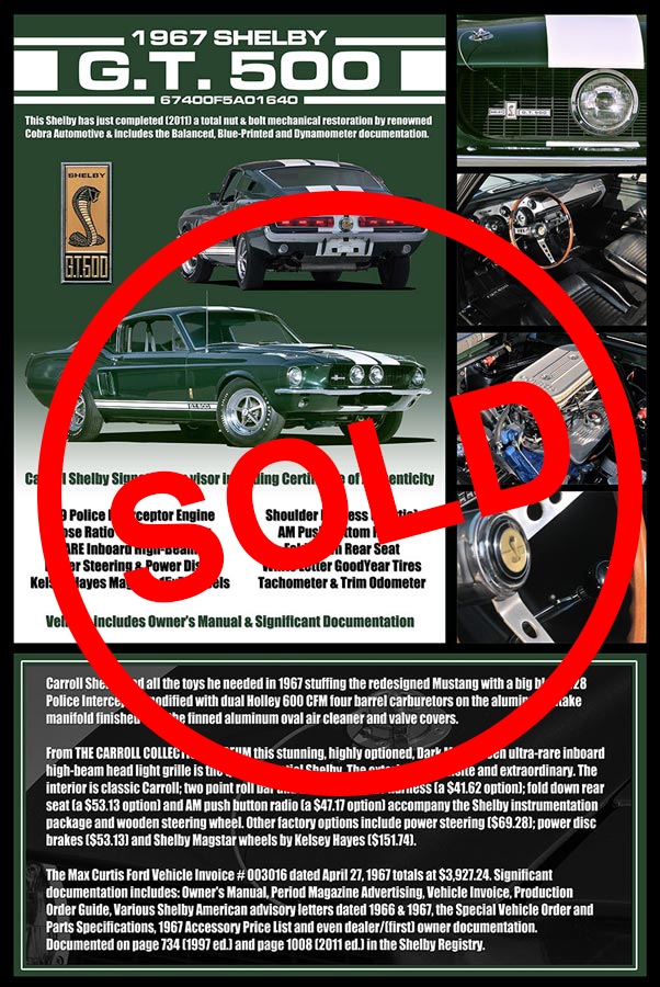1967 Shelby GT 500 Sold