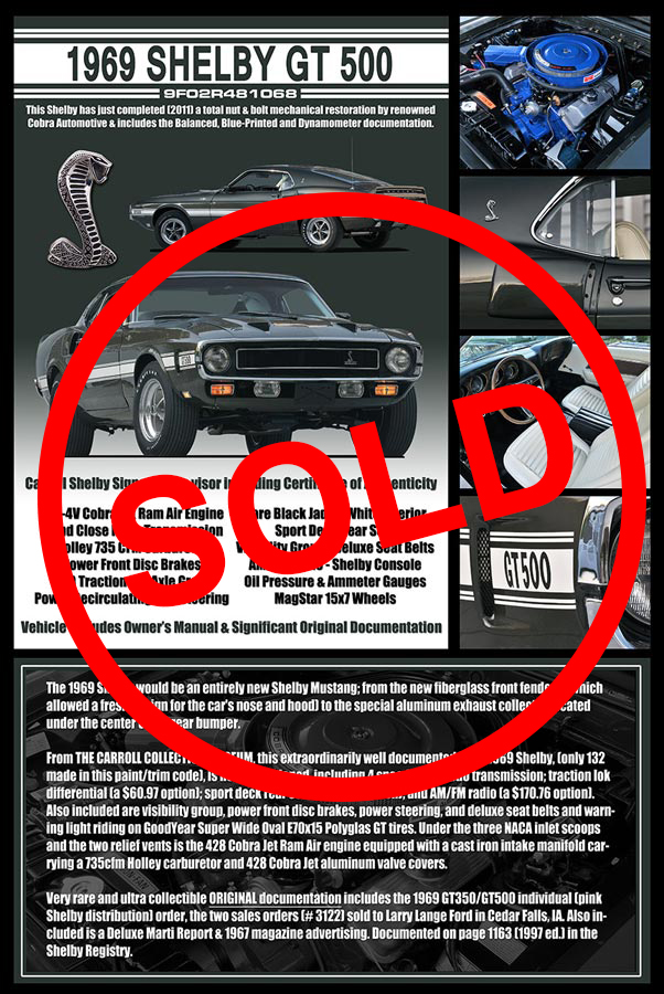 1969 Shelby GT500 Sold